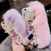 For Iphone 7 7Plus Warm Fluffy Rabbit Fur Bling Diamonds Pearl Jewelry Case Cover For