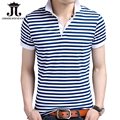 Hot new 2017 Summer polo men Striped shirt Plus size M-3XL cotton Breathable fashion short-sleeved Slim polo men shirts