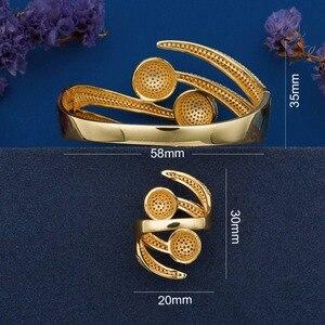 Image 2 - ModemAngel Luxury Big Ball Full Mirco Pave Cubic Zircon Gold Color Women Brand Bijoux Fashion Bangle Ring Sets Party