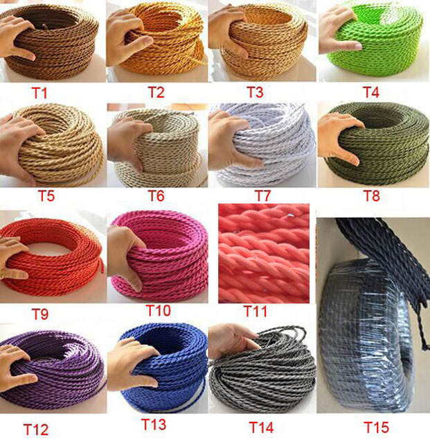 5m/lot 2*0.75 Copper Cloth Covered Wire Vintage Style Edison Light Lamp Cord Grip Twisted Fabric Lighting Flex Electric Cable