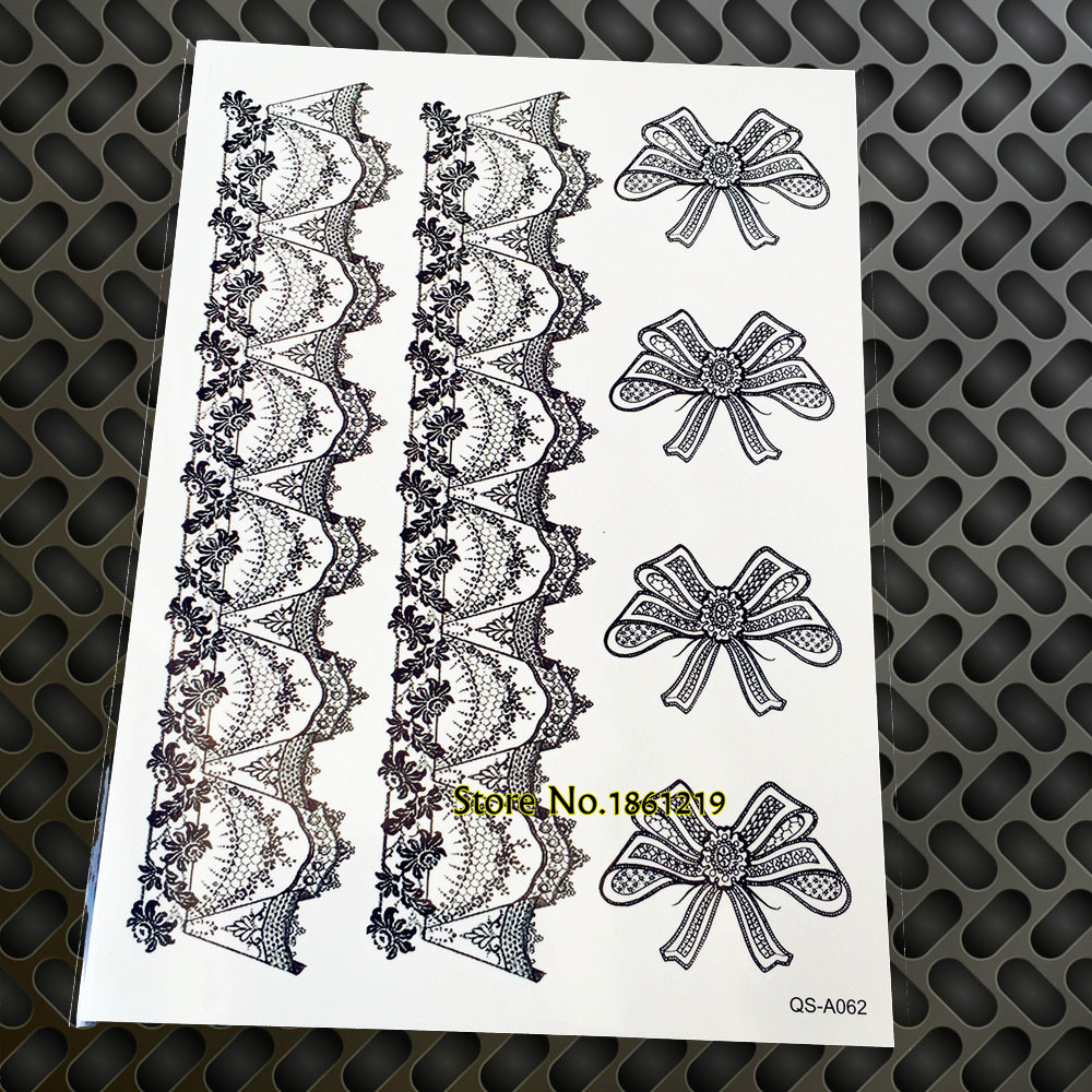 Hot Sale Waterproof Fake Tattoo Sticker Transferable GQS-A062 Lace Bow Design Black Ink Henna Sexy Legs Stockings Tattoo sticker
