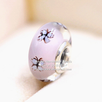 Fashion Jewelry 2019 NEW 2pcs S925 Sterling Silver Pink Purple Butterfly Murano Glass Beads Fit European Pandora Charms Bracelet