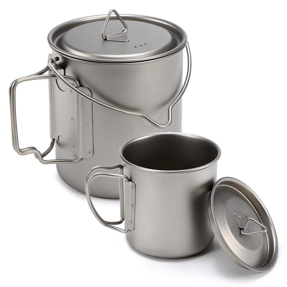 450 ml 750 ml tasse ensemble tasse en titane ultraléger suspendus Pot ensemble extérieur Portable tasse à eau pliable poignée Camping batterie de cuisine Pot
