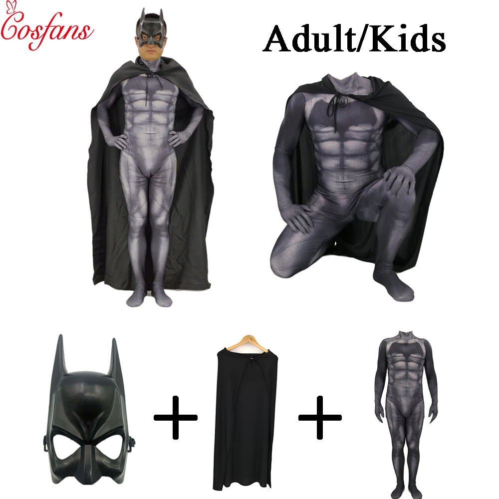 Batman boy kids Cosplay Costume Bruce Wayne Cape Dark Knight Rise Cosplay Superhero Equipped Full Adult Men's Halloween women