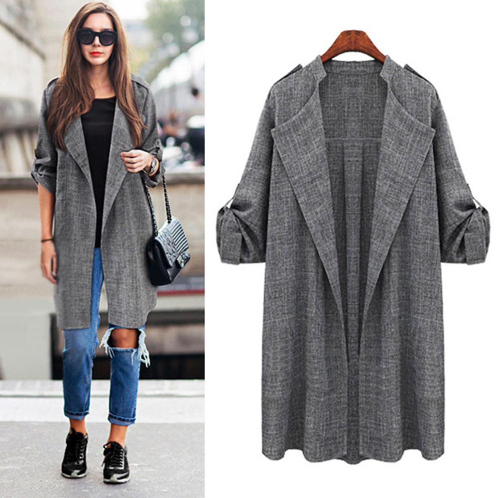 2015 Autumn Winter Women Open Front Trench Cardigan Loose Long ...