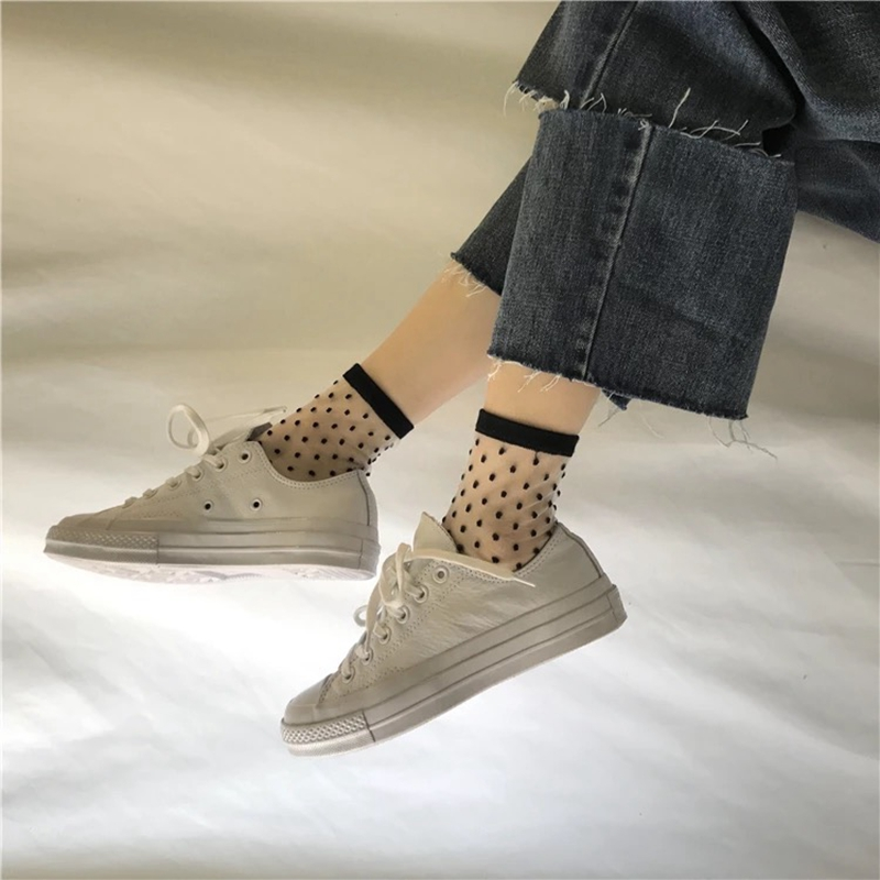 SP&CITY New Arrival Striped Transparent Short Socks Popular Fashion Fishnet Socks Punk Rock Dot Vintage Chic Low Sock Slippers