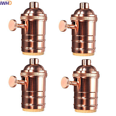IWHD DIY Soquete Edison Lamp Holder Base Douille E27 Socket Vintage Lampholder Portalampada With Switch Industrial Pendant