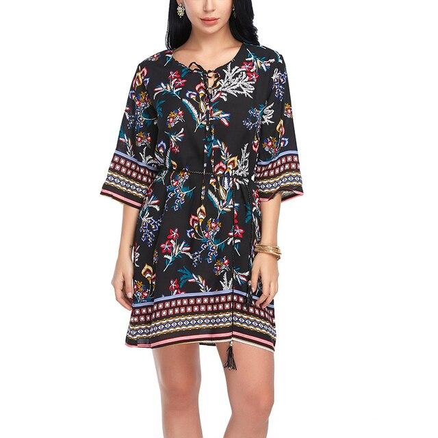 AIEnny Cotton Women Summer 6 Color Bandage Casual Bohemian Dresses Short Sleeve