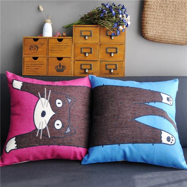 Red and blue cat combination throw pillow home decor Korea style cute cartoon kitty decorative cushions for sofa chair almofadas