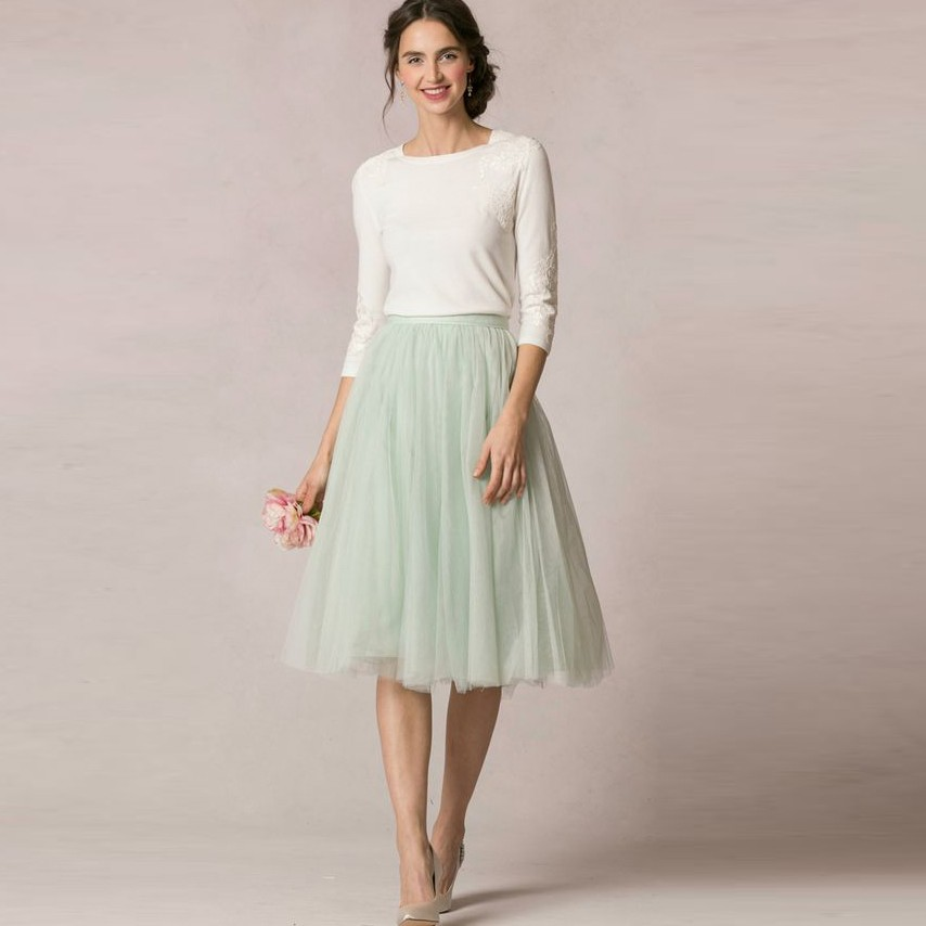 high quality mint green knee length tulle skirt for