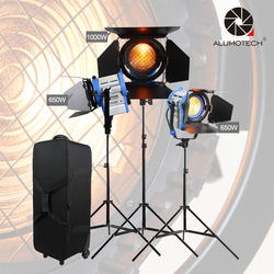 ALUMOTECH As ARRI Dimmer Built-in 650WX2+1000W Fresnel Tungsten Spot Light+Case+StandX3 For Film Studio Video Photography