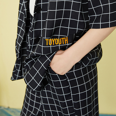 Toyouth Boyfriends 2019 Summer Black and White Plaid Short Pant Suits Women Notched Blazer Jacket Hot Shorts Casual 2 Pieces Set Lahore