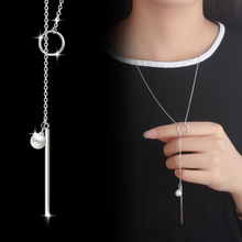Todorova Fashion Jewelry Circle Strip Simulated Pearl Long Chain Pendant Necklace Women Sweater Accessories Gifts