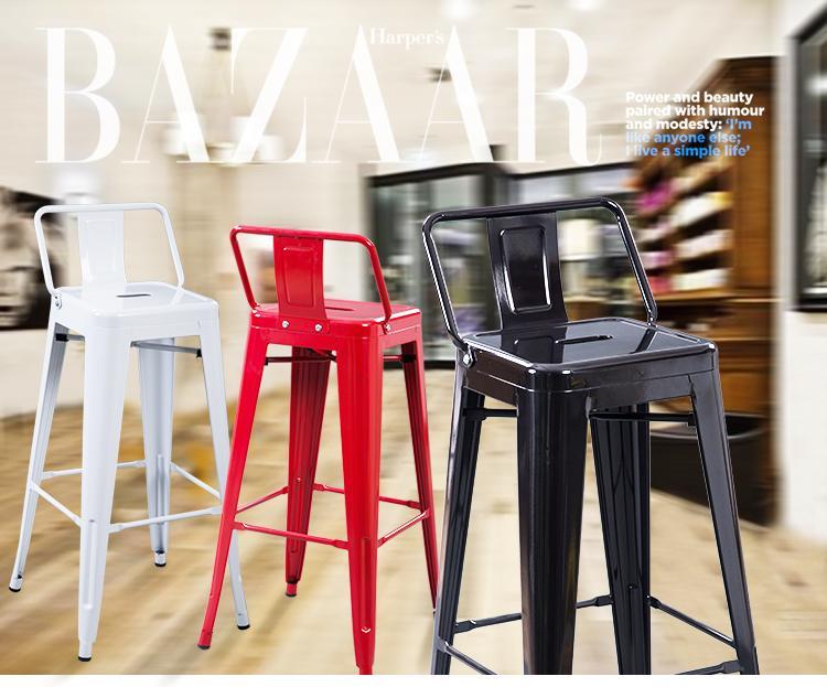 Moda semplice ferro battuto sedia schienale sgabello da bar