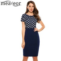 Meaneor Vintage Style Polka Dot Pencil Dress Patchwork Women Dress O Neck Short Sleeve Empire Summer