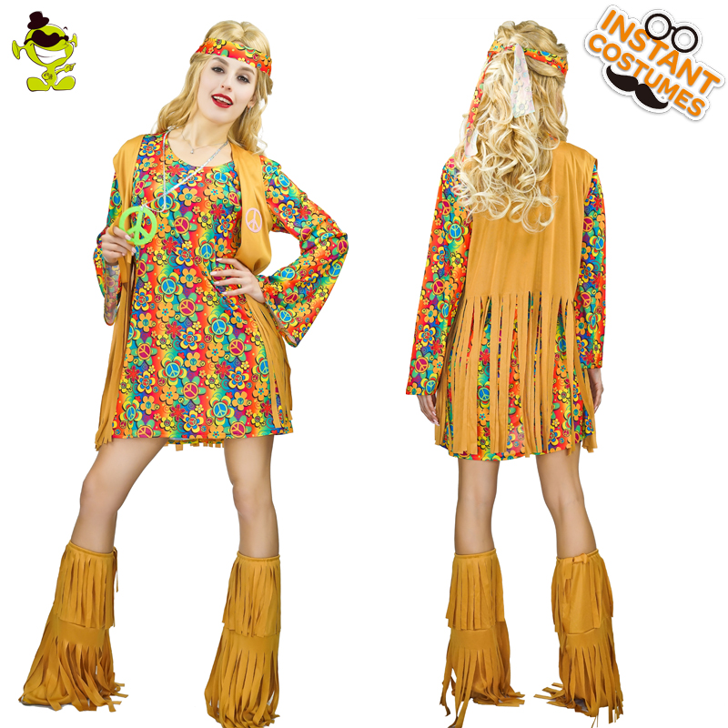 Women Retro Flower Hippie Costumes With Flare Cuffs Adult Carnival Party Classical Hippie Girls Cosplay For Music Festival