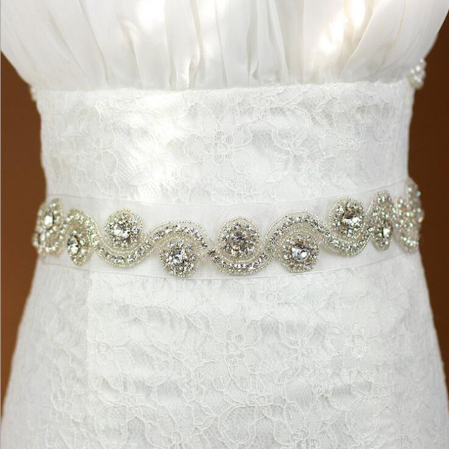 ZXW23 Fashion Luxurious Handmade Rhinestone Ribbon Pearl Crystal Wedding Party Bridal Belt Dress Sash