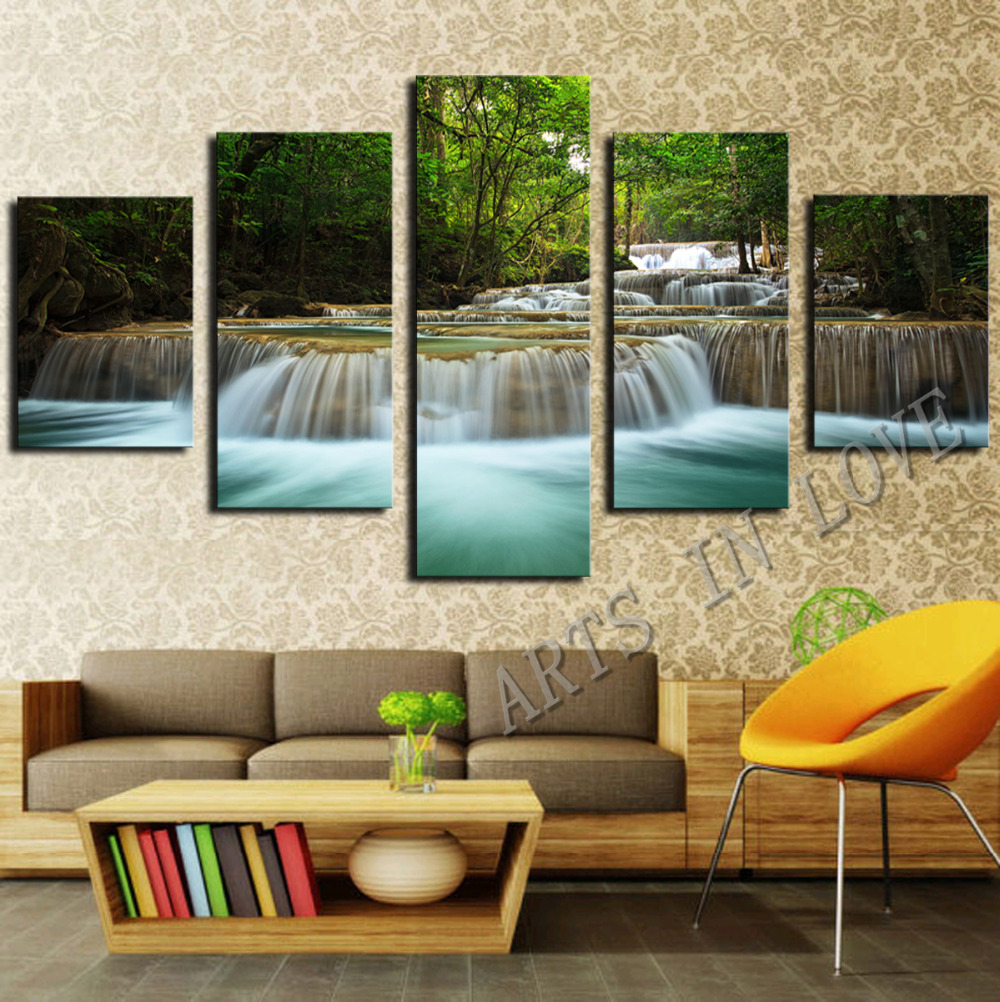 For Living Room Wall Art Aliexpresscom Buy 5 Panel Waterfall Painting Canvas Wall Art