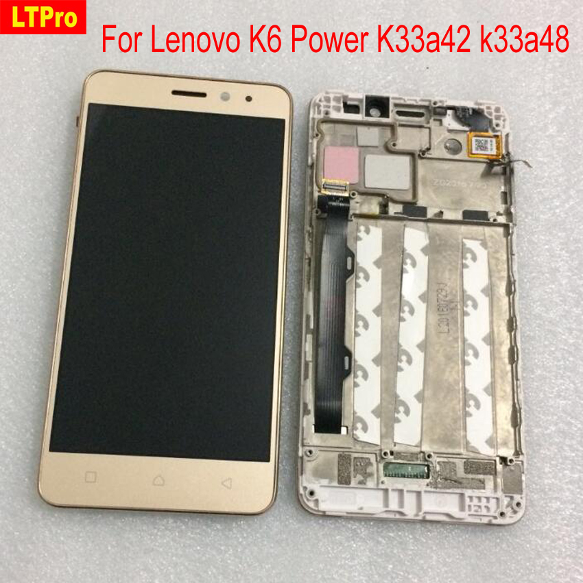 LTPro Top Quality Full LCD Display Touch Screen Digitizer Assembly with Frame For Lenovo K6 Power K33a42 k33a48 Phone parts