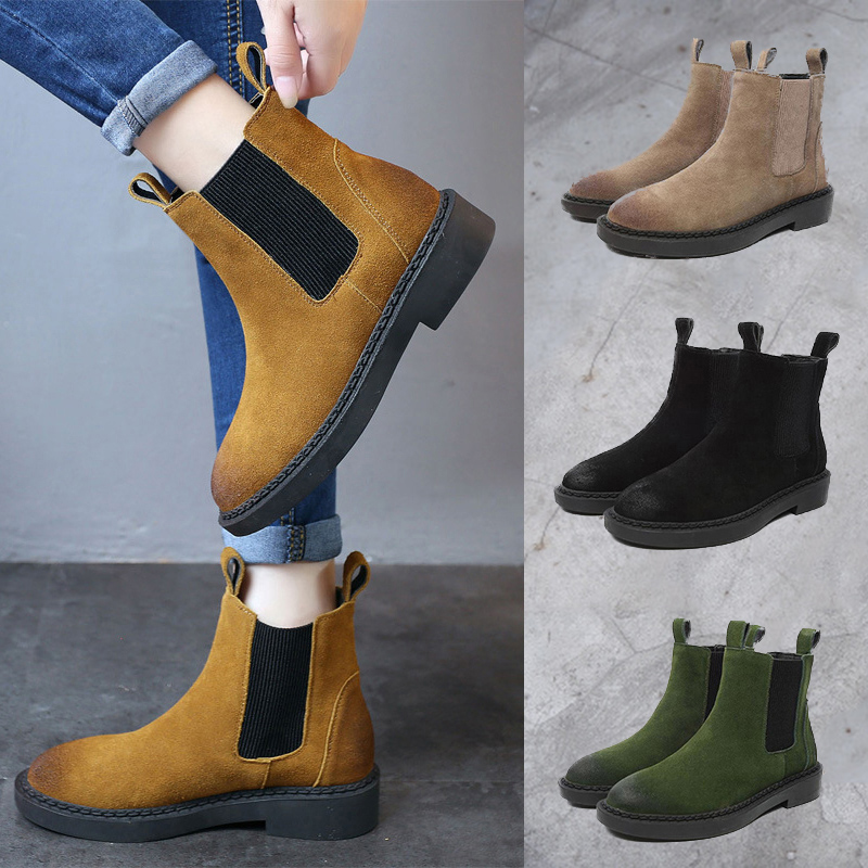 2018 Winter Warm Short Ankle Boots Genuine Leather Women Che