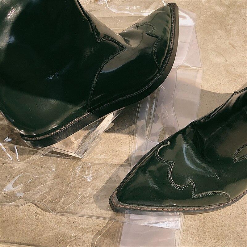 Pie Transparente Sexy Del Vaquero Mujer Resbalón De Nuevo Caballero Black Los Zapatos Alta Rodilla En Tacón Dedo Mstacchi 2019 Botas green Grueso qTPzwE0g