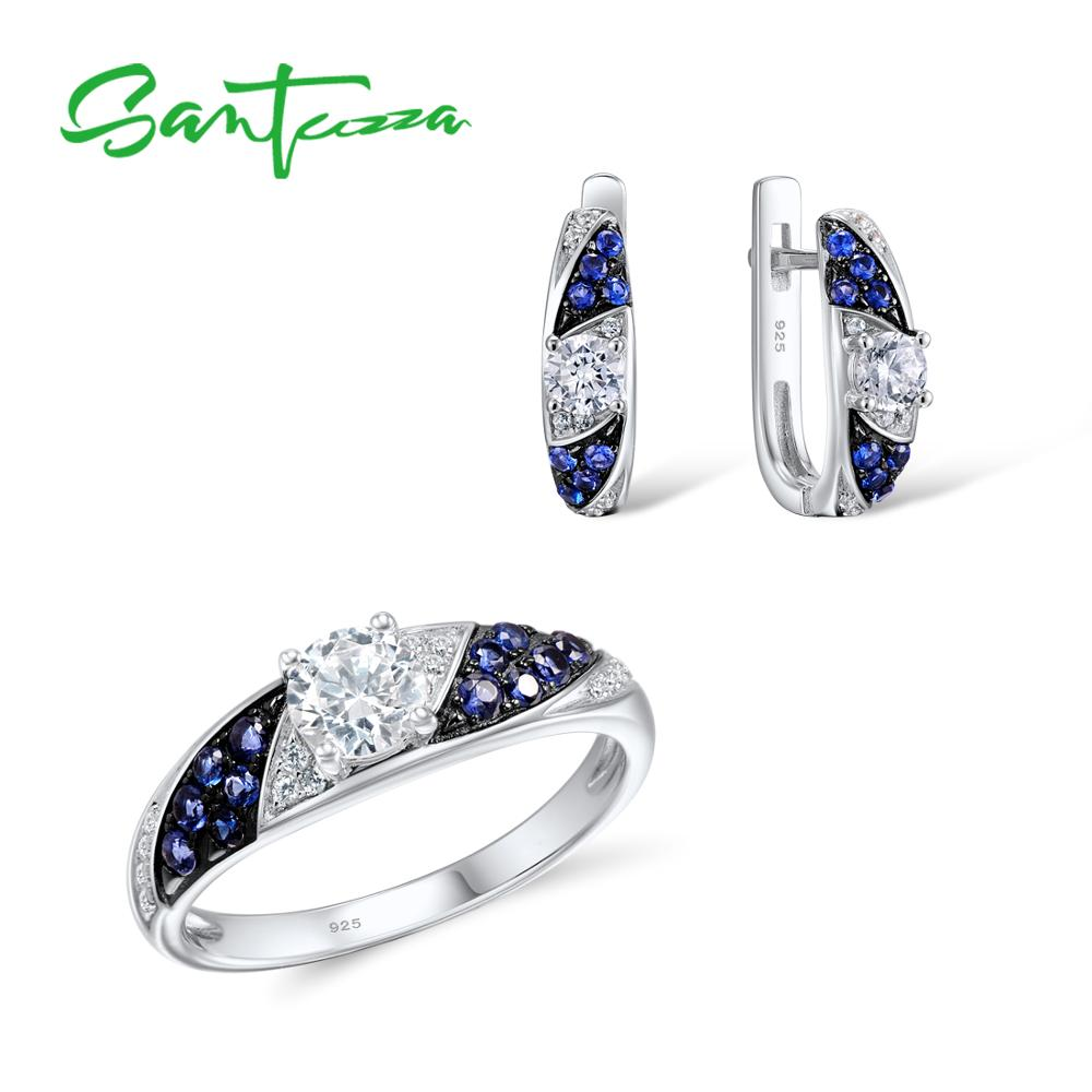 Santuzza Jewelry Sets for Women Blue Nano CZ Stones Jewelry Set Stud Earrings and Ring Set Pure 925 Sterling Silver Jewelry Set