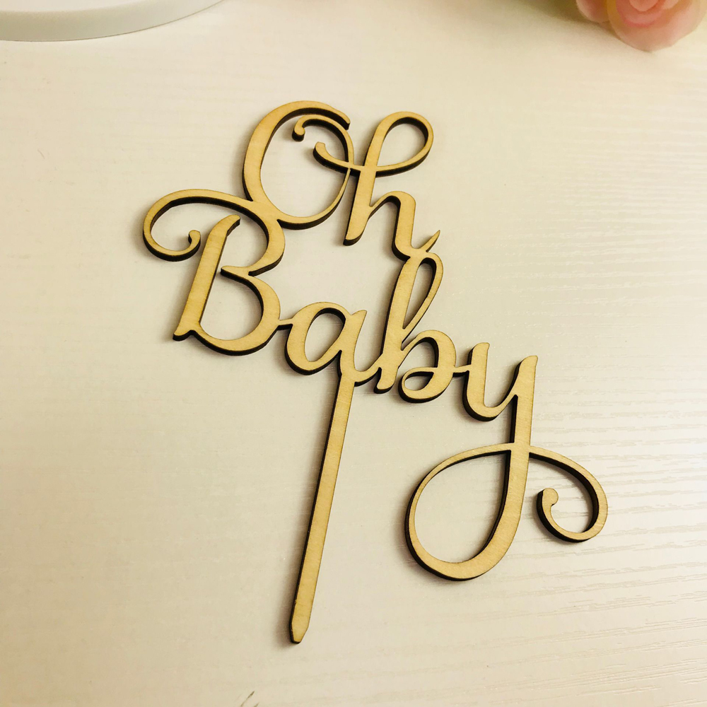 Image 2 - Oh Baby Cake Topper ,  Wooden  Acrylic Cake Topper Commemorative topper ,for Baby Shower Cake Decoration Supplies-in Cake Decorating Supplies from Home & Garden