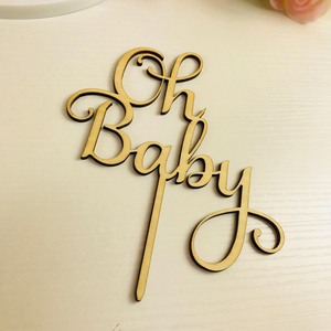 Image 2 - Oh Baby Cake Topper ,  Wooden  Acrylic Cake Topper Commemorative topper ,for Baby Shower Cake Decoration Supplies
