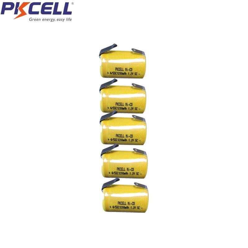 PKCELL 5Pcs 4/5sc1200mAh 1.2V NICD Batteria Ricaricabile nicd Con Le Schede Per Il Solare di Illuminazione Elettrica trapano