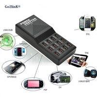 Go2linK Neue EU/Us-stecker 5 V 12A Ausgang Max 3.5A 12 Ports USB Buchse Power Schnelle Ladegeräte für Mobiltelefone und tabletten