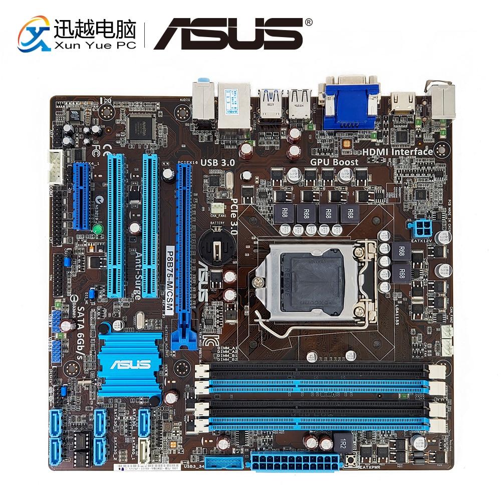 Asus P8B75-M/CSM Desktop Motherboard P8B75-M B75 Socket LGA 1155 i3 i5 i7 DDR3 16G SATA3 USB3.0 VGA DVI HDMI uATX