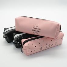 Pencil case leather school korean estuche escolar pink black trousse scolaire stylo kawaii kalem kutusu