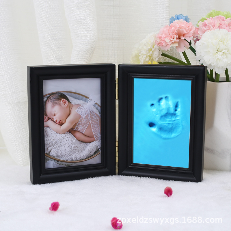 Photo Frame Set With Cover Two Fold Handprint Mud Set Baby Hand And Foot Prints
