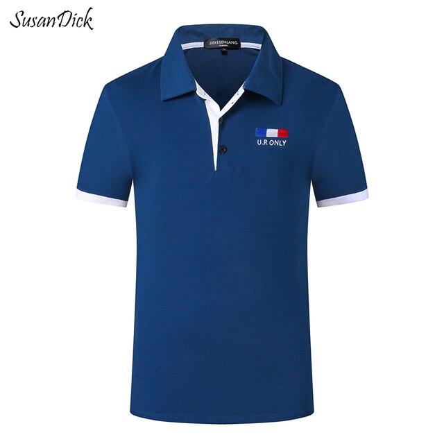 2016 Моды для Мужчин Рубашки Поло Удобные Дышащие 100% Хлопок Повседневная Поло Homme Вышивка С Коротким Рукавом Синий Поло Бренд Tommys