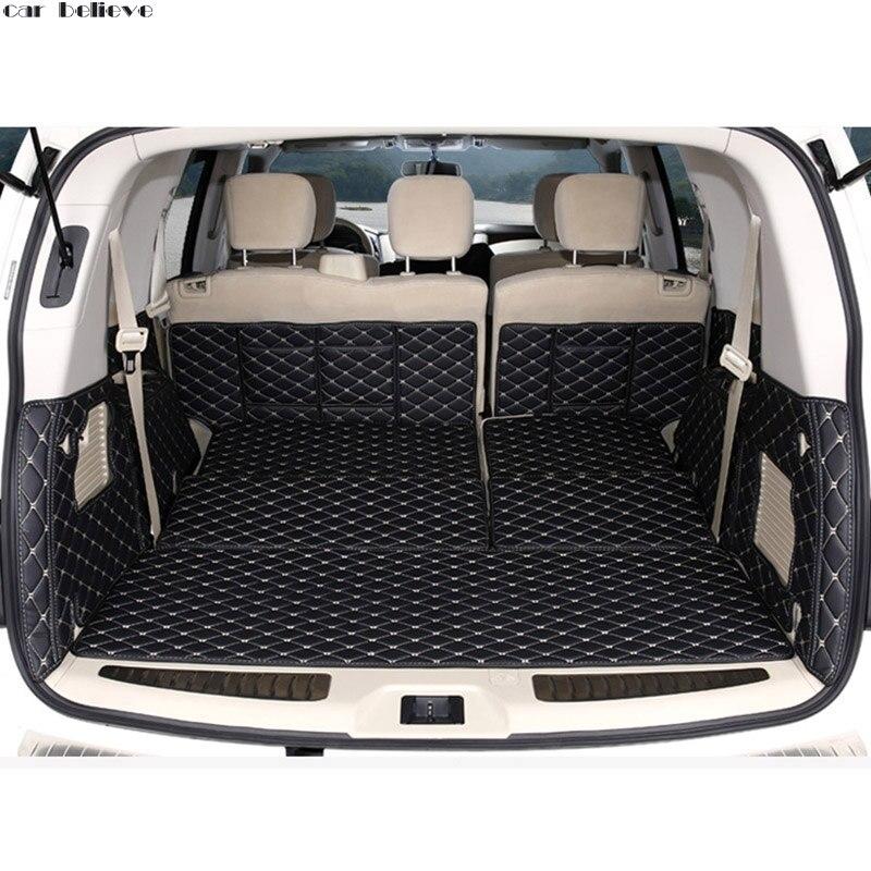 Car Believe car trunk mat For nissan patrol y62 2014 2016 Cargo Liner Interior Accessories Carpet car styling car interior mats for nissan patrol y62 2012 2018 7seats anti duty pads waterproof carpet mats for patrol y62 2017