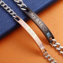 My Boo & My Bae Named Bracelets For Women Men Matching Couple Bracelets Crystal Stone Charm Bracelets Link Chain