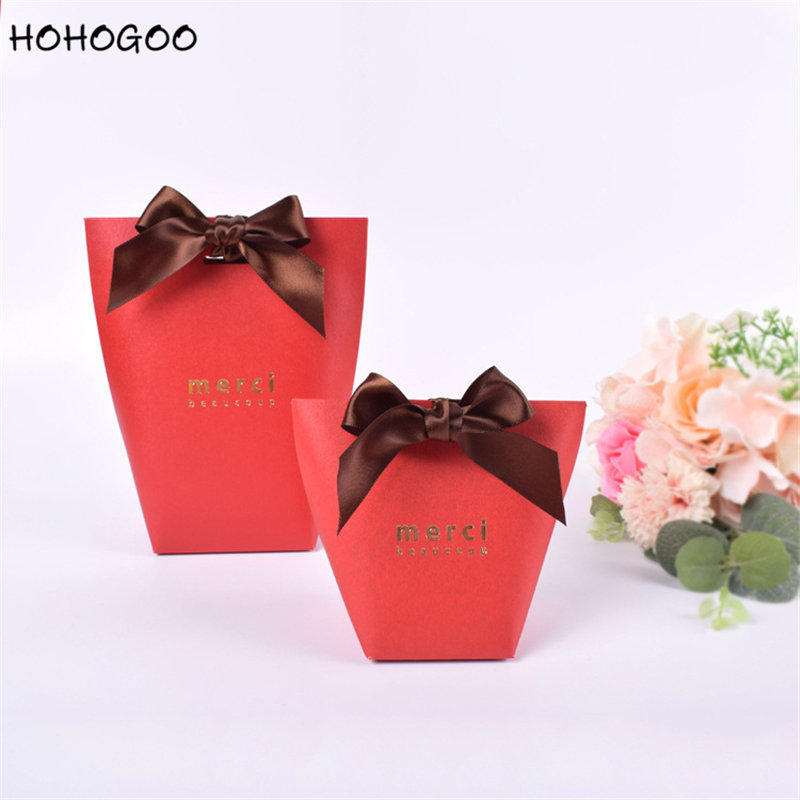 HOHOGOO 50pcs set Red quot Merci quot Candy Gift Bag Paper French Thank You Wedding Engagement Baby Shower Party Favor Bags Gift Box in Gift Bags amp Wrapping Supplies from Home amp Garden