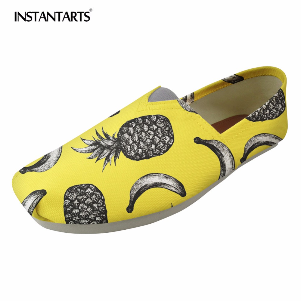 INSTANTARTS Cute 3D Fruit Pattern Women Casual Shoes Banana Pineapple Canvas Shoes Woman Girl Loafers Flats Shoes Zapatos Mujer