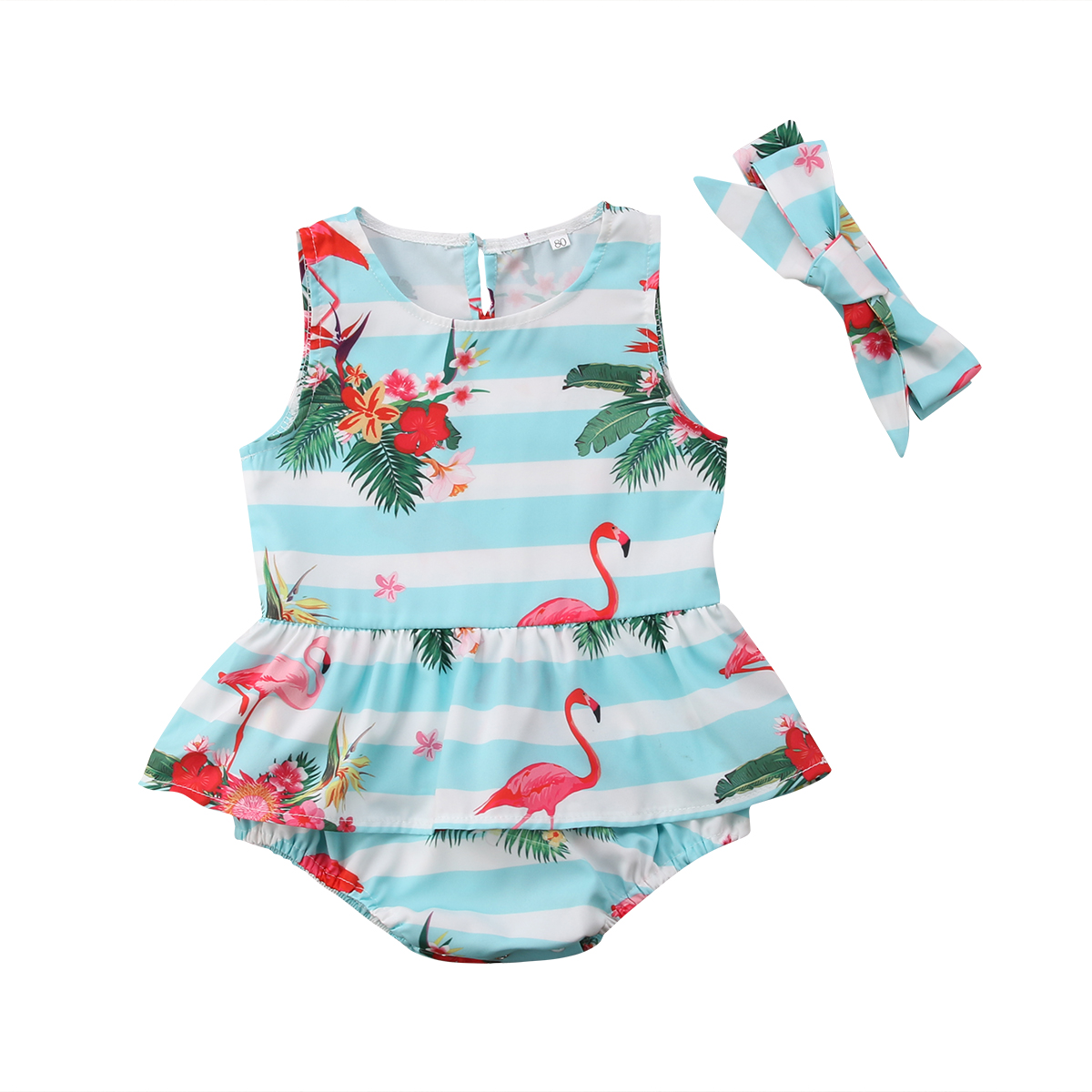 0-24 Mt Floral Flamingo Drucken Newborn Kleinkind Baby Mädchen Spielanzug Baumwollsleeveless Overall Mit Stirnband Sunsuit
