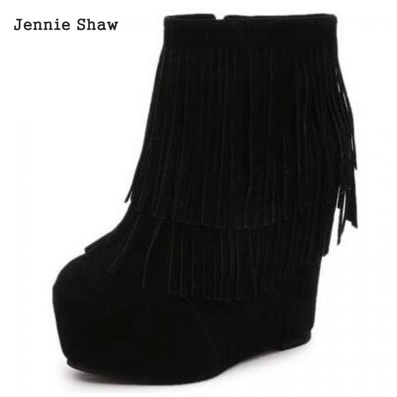 Autumn New Women's Wedges Fringed High-heeled Ankle Boots Platform Increased Shoes Sys-1591