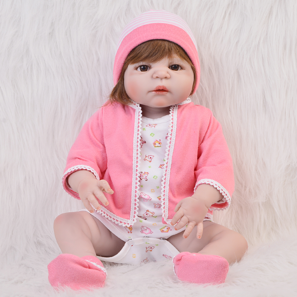 Lifelike Reborn Babies Doll 23 Full Silicone Vinyl Newborn Girl Doll Lovely Girls Birthday Gifts and Play Toys Little Bebe Doll lifelike american 18 inches girl doll prices toy for children vinyl princess doll toys girl newest design