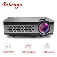 Salange T24 проектор Full HD 1080p, 4500 люмен светодио дный проектор, дома Театр, HDMI, VGA, USB, 1920x1080 фильм Proyector