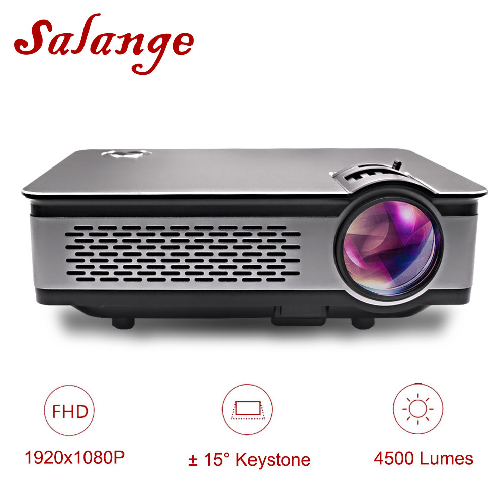 лучшая цена Salange T24 Projector Full HD 1080P,4500 Lumens LED Projector,Home Theater,HDMI VGA USB,1920x1080 Movie Beamer Proyector
