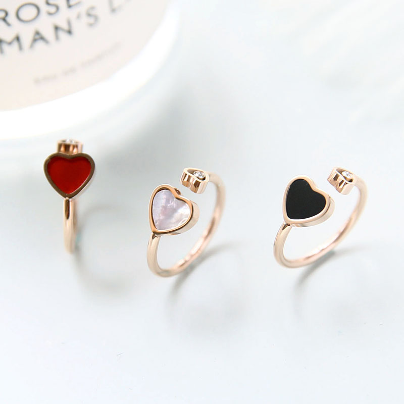 Женское кольцо YUN RUO, розовое золото с кристаллами в виде сердца, подарок для вечеринки, титановая сталь, высокое качество, 2018