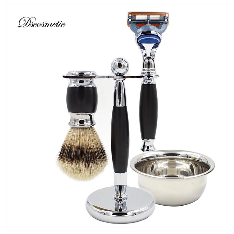 Berus cukur badar silvertip ditetapkan untuk lelaki, bercukur berdiri, mencukur cukur, mangkuk cukur