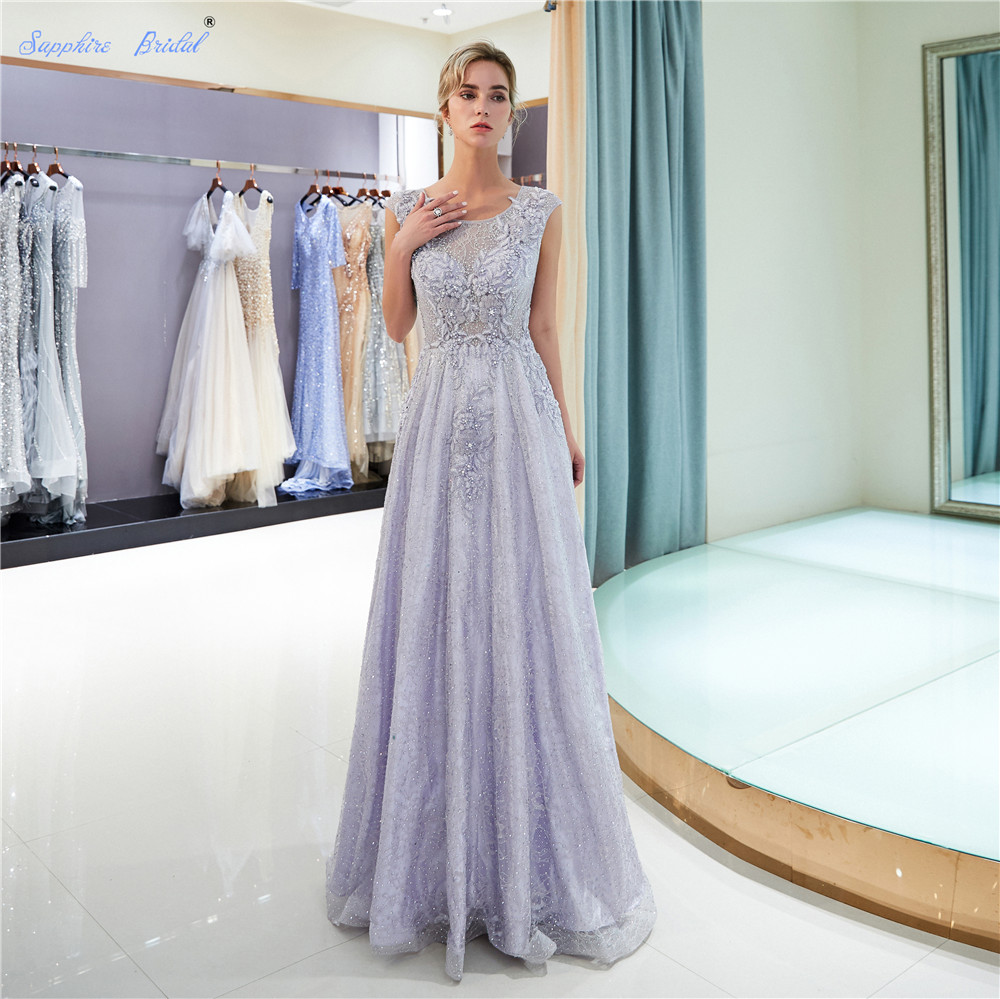 Sapphire Bridal High Quality 100% Real Photo lavender Long A Line   Evening   Gowns Cap Sleeve Beaded Spakly   Evening     Dress