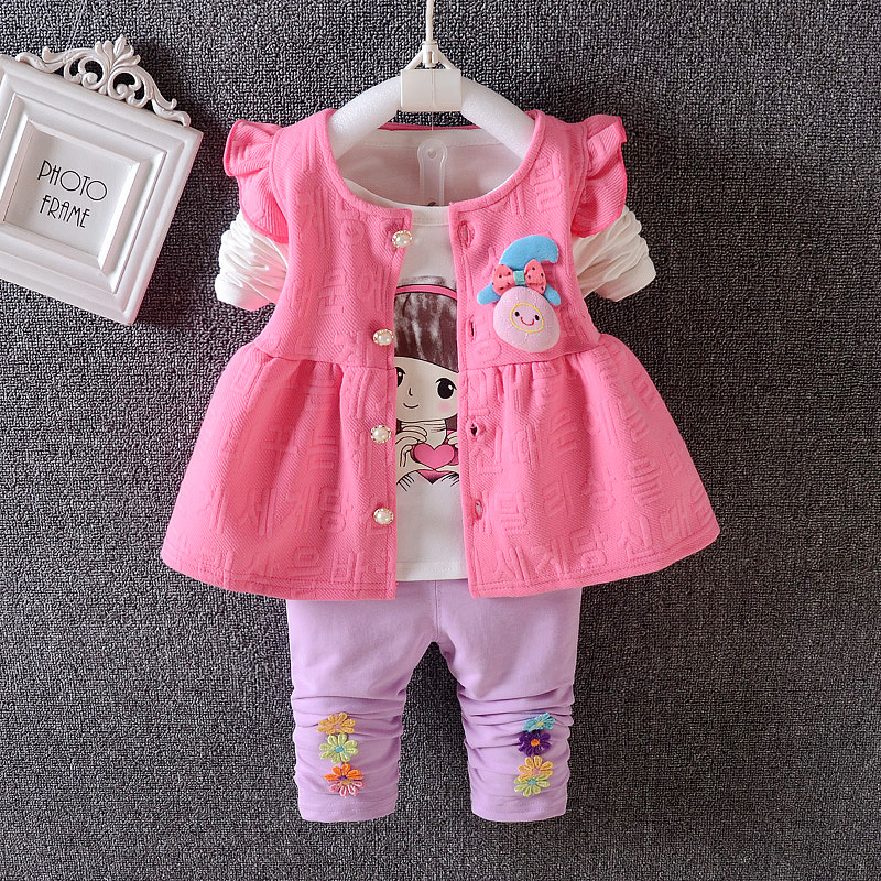 Anlencool Newest Spring and autumn Baby Girls Clothing sets Cartoon Casual Kids Hooded Coat+ t-shirt+Pants 3Pcs New Clothes Suit 2017 new cartoon pants brand baby cotton embroider pants baby trousers kid wear baby fashion models spring and autumn 0 4 years