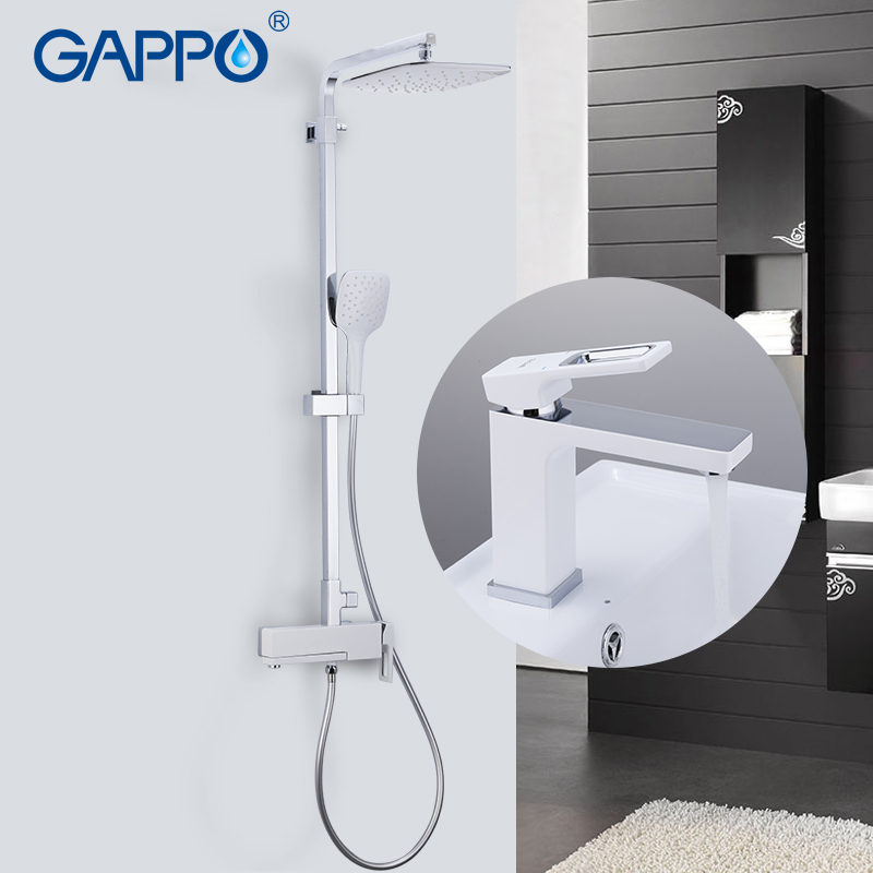 GAPPO Sanitary Ware Suite brass water tap chrome bathroom bath set mixer bathtub tap with basin faucet torneira para banheira