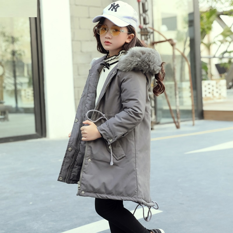 New 2018 Fashion Children Winter Jacket Girl Winter Coat Kids Warm Thick Fur Collar Hooded long down Coats For Teenage 3Y-14Y new fashion kids warm thick fur collar hooded daddy chen children winter jacket girl winter coat long down coats for teenage