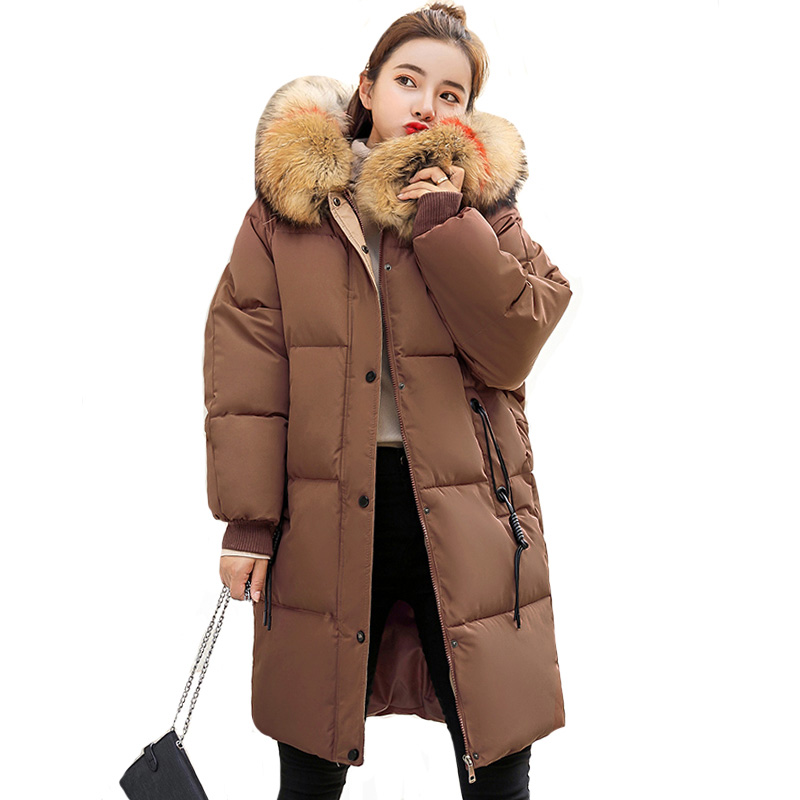 2019 Fashion Winter Jacket And Coat For Women With Fur Hooded Padded Long Womens Coat Outwear High Quality Female   Parka